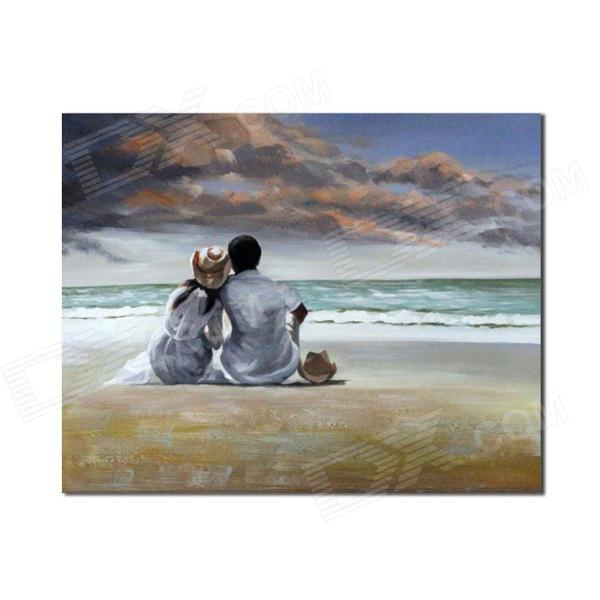 Iarts DX0415-20 Two lovers Sitting On The Beach Hand Painted Oil Painting - Grey