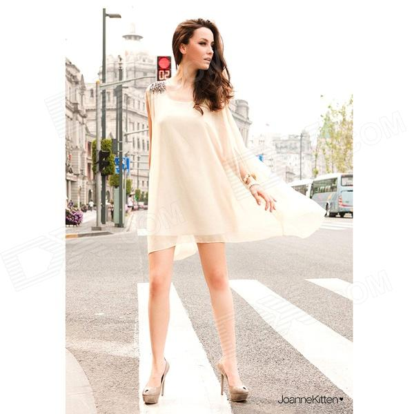 BG1523 Womens Stylish Loose Chiffon Dress w/ Embroidered Shoulder / Belt - WhiteDresses<br>Color White Size Free Size Brand No Model BG1523 Quantity 1 Piece Shade Of Color White Material Chiffon Style Fashion Chest Girth 90 cm Waist Girth 90 cm Hip Girth 95 cm Total Length 89 cm Suitable for Height 155~178 cm Packing List 1 x Dress 1 x Belt<br>