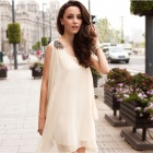 BG1523 Women's Stylish Loose Chiffon Dress w/ Embroidered Shoulder / Belt - White