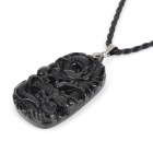 Fenlu LTZ-295 Auspicious Chinese Dragon Relievo Obsidian Pendant Necklace - Black