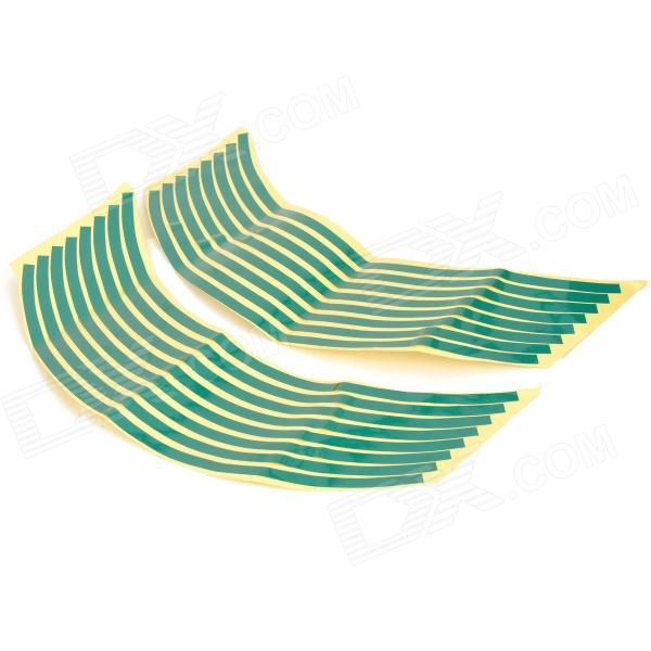 18 Motorcycle Reflective Visual Decoration Sticker - Green (16 PCS) buy two get one free motorcycle styling wheel hub tire reflective sticker car decorative stripe decal for yamaha honda suzuki