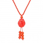 Fenlu FL-305 Auspicious Double Fish Zinnober + Red Agate Pendant Necklace - Red