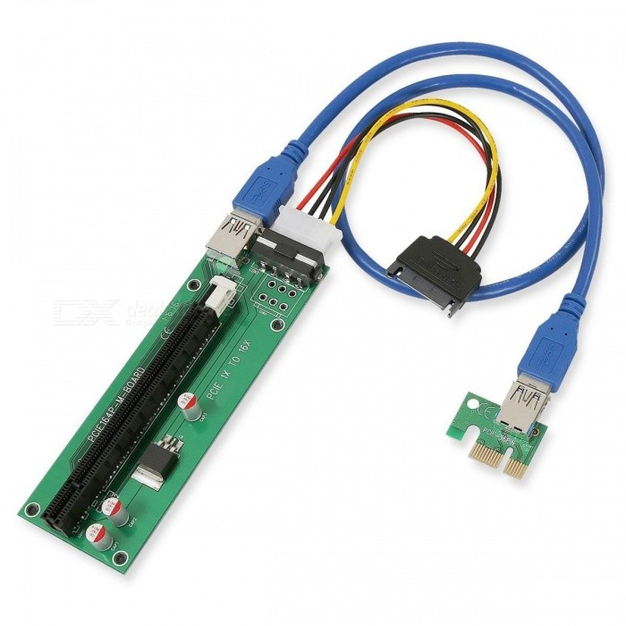 1X to 16X PCI-E Extension Cable w/ USB 3.0 Module - Green + Black