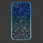 Water Drop Pattern Protective PC Back Case for IPHONE 4G - Transparent + Blue