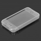 Stylish Protective TPU Flip Open Case w/ Touch Screen for IPHONE 4 / 4S - Transparent + White