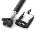 Retractable Handheld ABS + Aluminum Rotary Monopod w/ Holder + Strap for IPHONE + More - Black