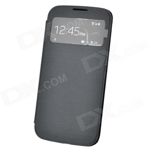 Protective PU Flip Open Case w/ Display Window for Sanmsung Galaxy S4 i9500 - Black