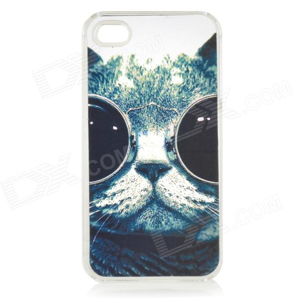 Cute Cat Pattern Protective PC Back Case for IPHONE 4 / 4S - Black + Deep Green
