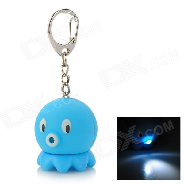 Cute Octopus Style Pendant Key Chain w/ Sound Effect + LED Light - Blue + White (3 x AG3) cute hippo style plastic key chain w led white light green 3 x ag10