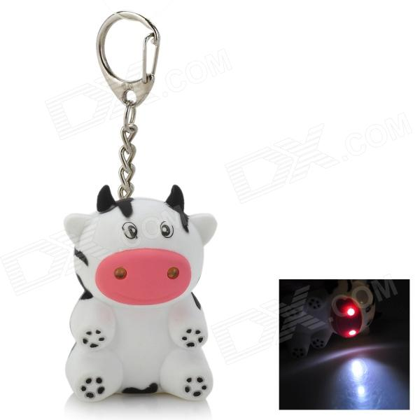 Cute Dairy Cow Style Pendant Key Chain w/ Sound Effect + LED Light - White + Black (3 x AG10)