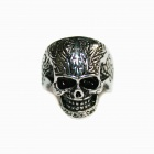 Skull Style Stainless Steel Finger Ring - Silver Black