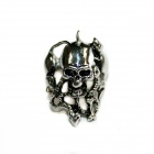 Skull Style Stainless Steel Finger Ring - Silver