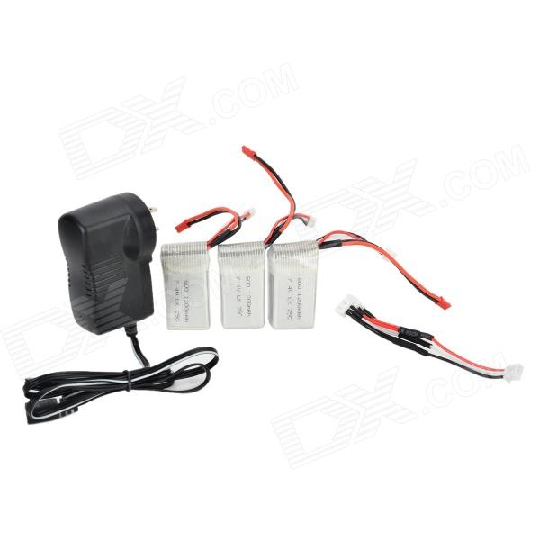 WLtoys KA949-001 7.4V 1200mAh Li-ion Polymer Batteries w/ US Plugss Charging Adapter - Silvery White
