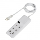 Compact Universal 6-Port USB Output US Plug Extension Socket for IPHONE / IPAD / IPOD + More - White