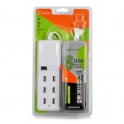Compact Universal 6-Port USB Output US Plugs Extension Socket for IPHONE / IPAD / IPOD + More - White