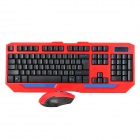 HK5100 Water Resistant 2.4G Wireless Gaming Keyboard w/ Wireless Optical Mouse Set - Black + Red