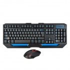 HK5100 Water Resistant 2.4G Wireless Gaming Keyboard w/ Wireless Optical Mouse Set - Black