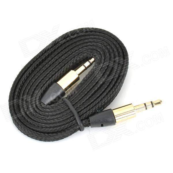 Nylon 3.5mm Male to 3.5mm Male Audio Cable - Black + Golden (100cm)