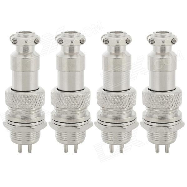 GX12-2 12mm Brass + Plastic Waterproof Connector - Silver (4 PCS)