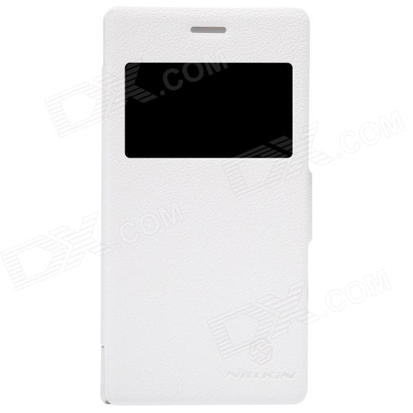 NILLKIN Protective PU Leather + PC Case Cover w/ Visual Window for SONY Xperia M2 S50H - White nillkin protective pu leather pc case cover for samsung galaxy alpha g850f black