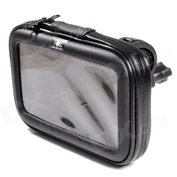 TOZ Bike Cellphone Holder w/ Case for Samsung Galaxy Mega / Note 3 + More - Black + Transparent protect artificial leather wallet case w plastic holder for samsung galaxy note i9220 black