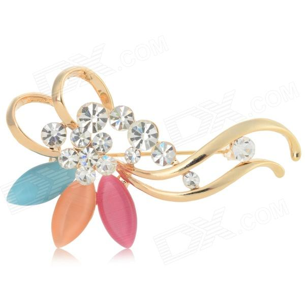Elegant Zinc Alloy + Opal + Rhinestone Brooch - Golden + Silver + Multi-Colored