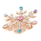Stylish Shiny Crystal Studded Snowflake Style Brooch - Rose Gold + Silver