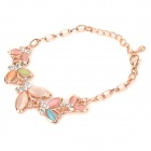 Sweet Cat's Eye + Zinc Alloy + Rhinestone Bracelet - Rose Gold + Silver
