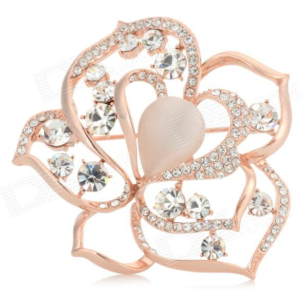 Elegant Zinc Alloy + Opal + Rhinestone Peony Shaped Brooch - Golden + Silvery White