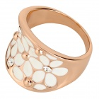 Stylish Shiny Rhinestone Studded Hollowed Ring - Rose Gold + White