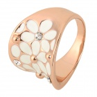 Snygg Shiny Rhinestone Studded Hollowed Ring - Rose Gold + White