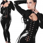 LT62 Women's Sexy Elastic Low-cut Zipper Back Patent Leather Costume Suit - Black