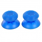 Replacement Plastic 3D Joystick Cap w/ Anti-slip Silicone Cover for PS4 - Translucent Blue (2 Pairs)