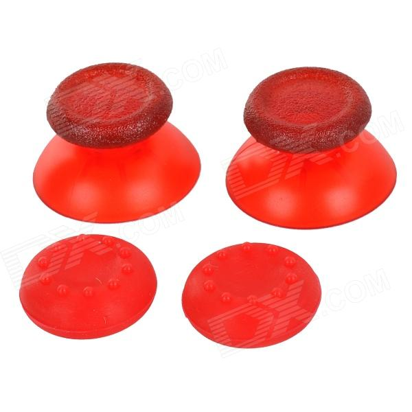 Replacement Plastic 3D Joystick Cap w/ Anti-slip Silicone Cover for PS4 - Translucent Red (2 Pairs) replacement plastic 3d joystick cap w anti slip silicone cover for xbox one black 2 pairs