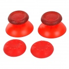Replacement Plastic 3D Joystick Cap w/ Anti-slip Silicone Cover for PS4 - Translucent Red (2 Pairs)
