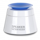 Mini Portable Foldable HiFi Speaker w/ Suction Cup Phone Holder - White + Blue