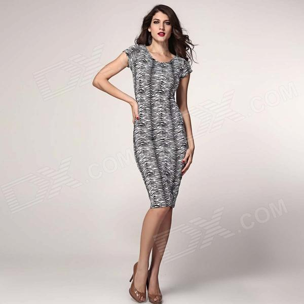 Fashionable Round-Neck Slim Sleeveless Dress - Black + White