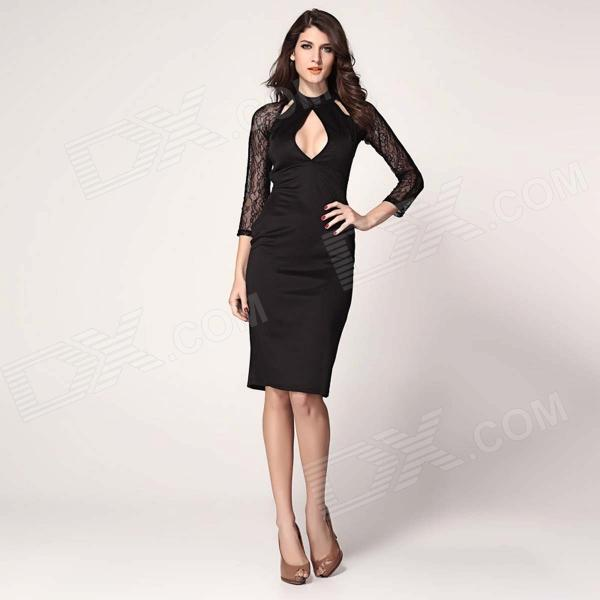 Fashionabel Round Collar Long Sleeves Polyester Dress - Black Cleveland Buying things