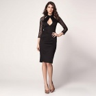 Fashionabel Round Collar Long Sleeves Polyester Dress - Black