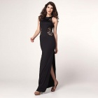Lace Cutout Slits Maxi Sexy Gown - Black