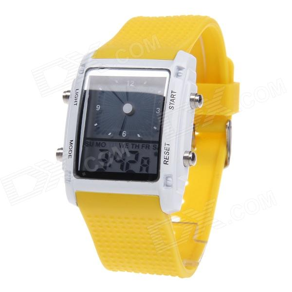 SUOXINI 8004 Multi-function Square Dial Red LED Light Silicone Band Wrist Watch - Yellow зонт moschino umbrellas m 8004 m 8004 oca beach bear multi