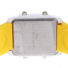 SUOXINI 8004 Multi-function Square Dial Red LED Light Silicone Band Wrist Watch - Yellow