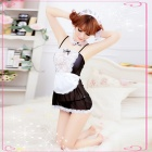 Women's Fashionable Sexy Maid Style Lace Sleep Dress w/ T-Back - Black + White