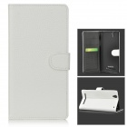 Protective Split Leather Case w/ Stand for Sony Xperia T2 Ultra - White