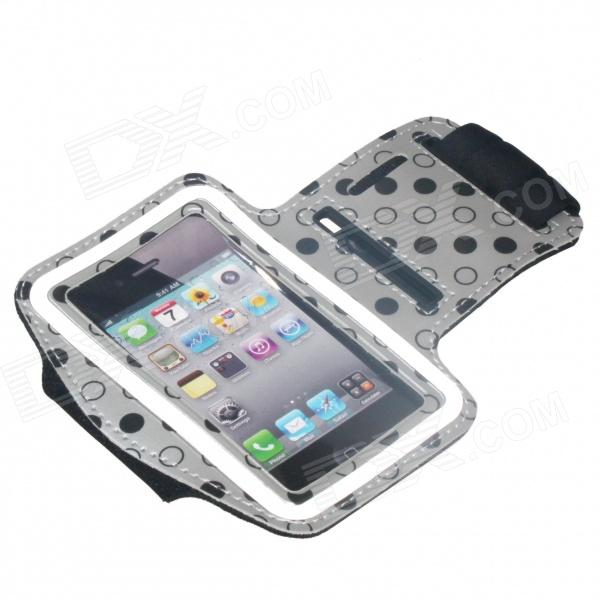Polka Dot Pattern Outdoor Sports Gym Armband Case for IPHONE 4 / 4S - Silver + Black