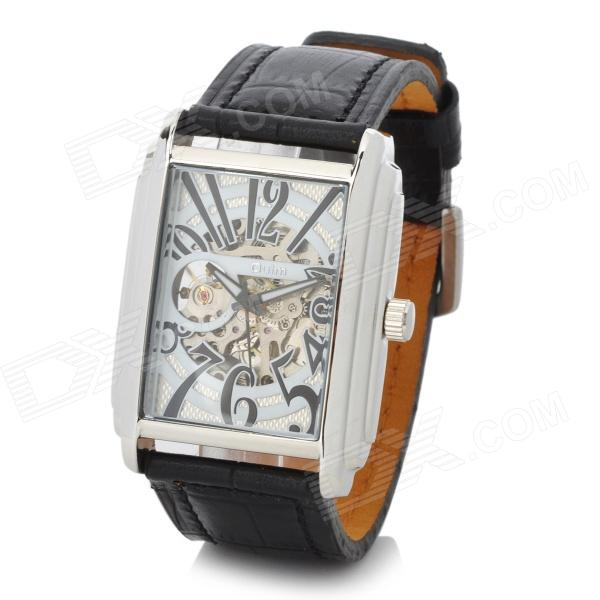 Oulm Business Man's Semi-Automatic Mechanical Hollow Out Wrist Watch - Black gucamel automatic mechanical watch hollow out design genuine leather band for men