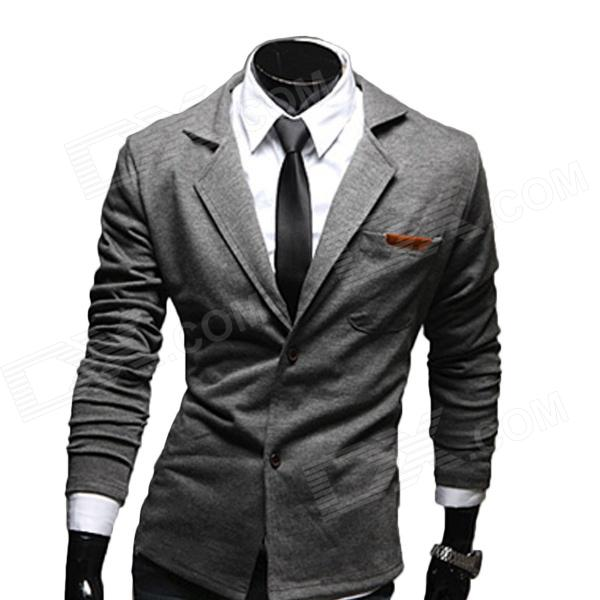Fashion Men's Cotton Slim Small Suits - Grey (XL)