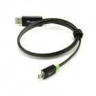 Power4 Micro USB Visible Flowing Current Data Sync / Charging Cable for Samsung / HTC - Black (75cm)