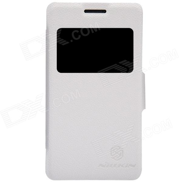 NILLKIN Protective PU Leather + PC Case w/ Visual Window for SONY Xperia E1 D2105 - White nillkin protective pu leather pc case cover w visual window for htc new one m8 white