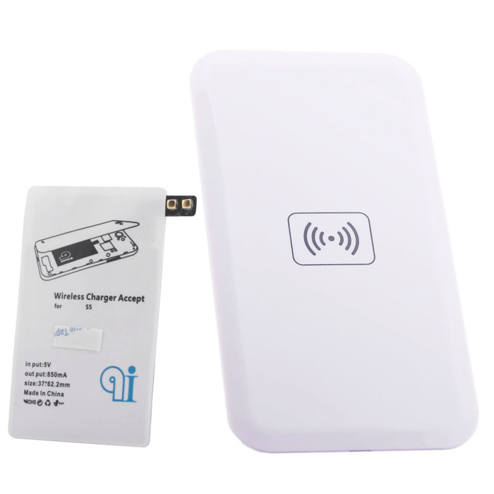 QI Wireless Charger Pad w/ Wireless Charger Receiver for Samsung Galaxy S5 - White